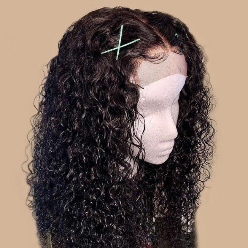 13x6 завитые парик фронта шнурка человеческих волос Парики для чернокожих женщин 130% бразильские Remy Pre щипковых волос младенца Средний Ratio отбеленная