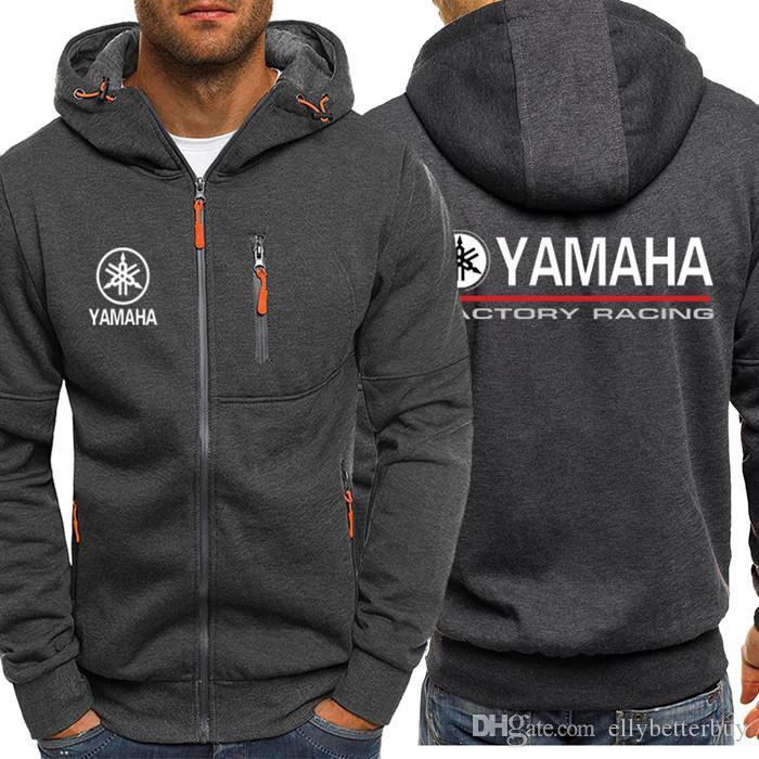 YAMAHA MOTOR Baskı Erkekler Spor Gündelik Giyim Bombacı Hoodies Erkek Cep Fermuar Ceket Bahar Güz Hırka Tişörtü Kış Ceket Eşofman