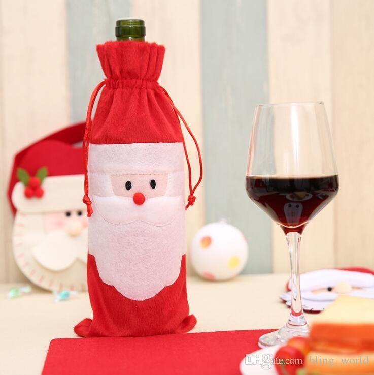 Presente novo Papai Noel Bolsas Decorações de Natal Red Wine Bottle Capa Bags Xmas de Santa Champagne vinho Bag Xmas presente YSY454