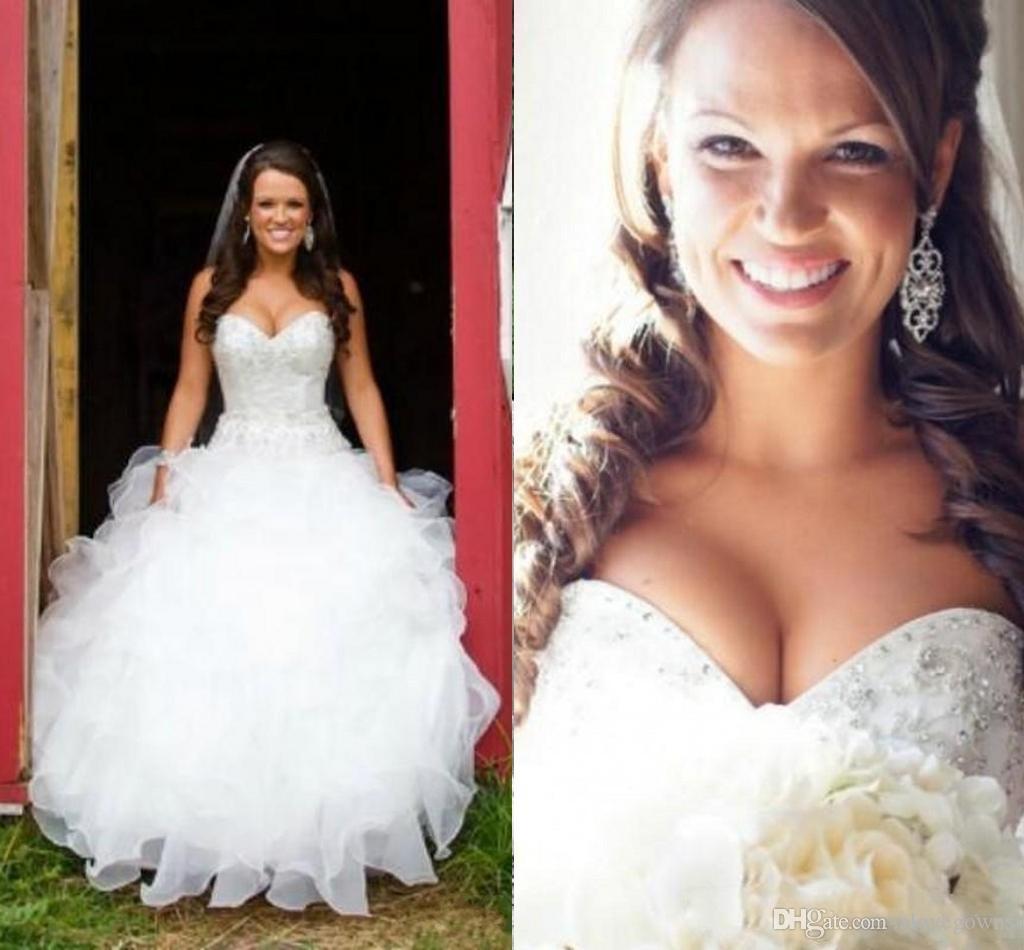 Magnífico vestido de fiesta País Sirena Vestidos de novia Cariño Cristal Beading Ruffles Sweep Train Organza Vestidos de novia Tallas grandes personalizadas