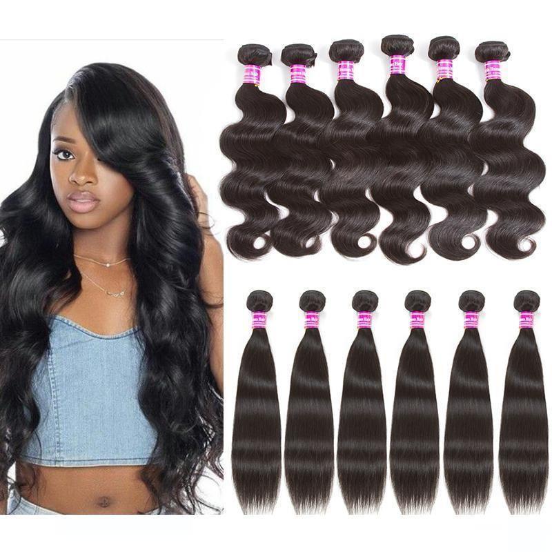 A Hot Sale Brazilian Virgin Human Hair Weaves Body Wave And Straight 4pcs Lots Or 6pcs Lots Cheap Peruvian Human Hair Extension