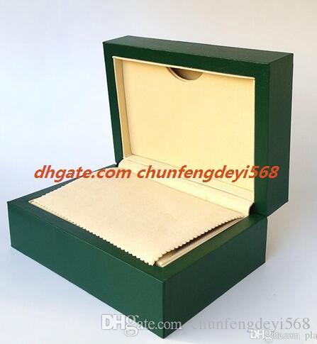 Fabrika Tedarikçisi Lüks İzle Yeşil Orijinal kutusu Kağıtları Mens Hediye Saatler Kutuları Deri çanta Kart Ahşap İzle Kutusu Için 0.8 KG