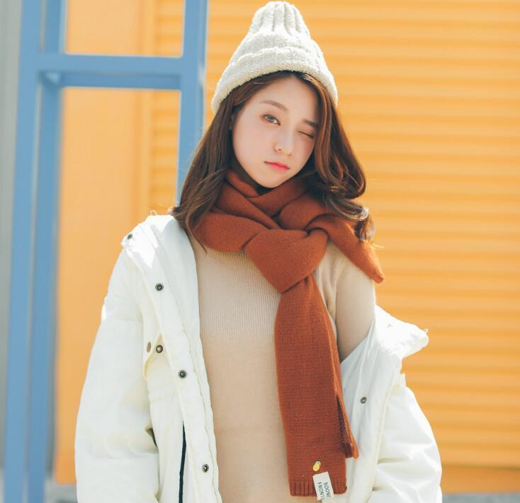 19 new winter acrylic waif Double-side color matching soft wail scarves Keep warm with small ananas decored 180 * 80cm shalls 10 colors