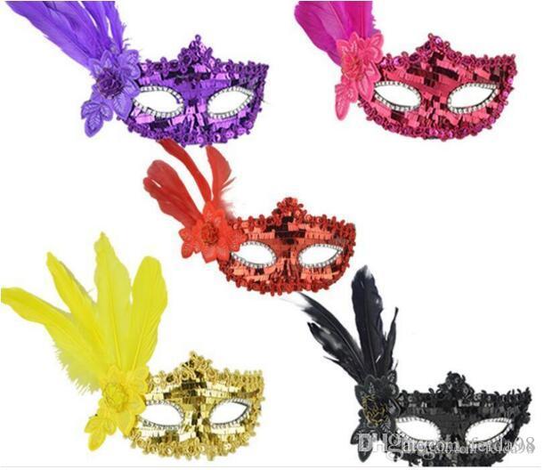 Nouveau modèle de danse des masques de fête, des fêtes d'anniversaire d'Halloween, accessoires, cadeaux de Noël, des bandes de plumes, des paillettes, des masques brodés, L777