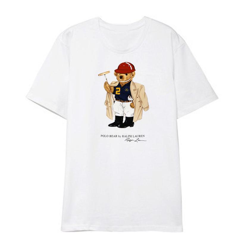 polo ter de manga curta T-shirt bonito do urso impresso roupas homens e mulheres periféricos camisa base de desgaste casal