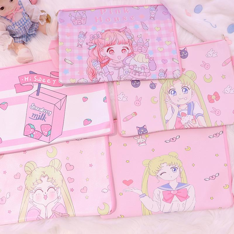 Japan Sailor Moon Stationery Cute Animal A4 File Pu Leather Holder Bag Kawaii Ducoment Bags office Material school Supplies