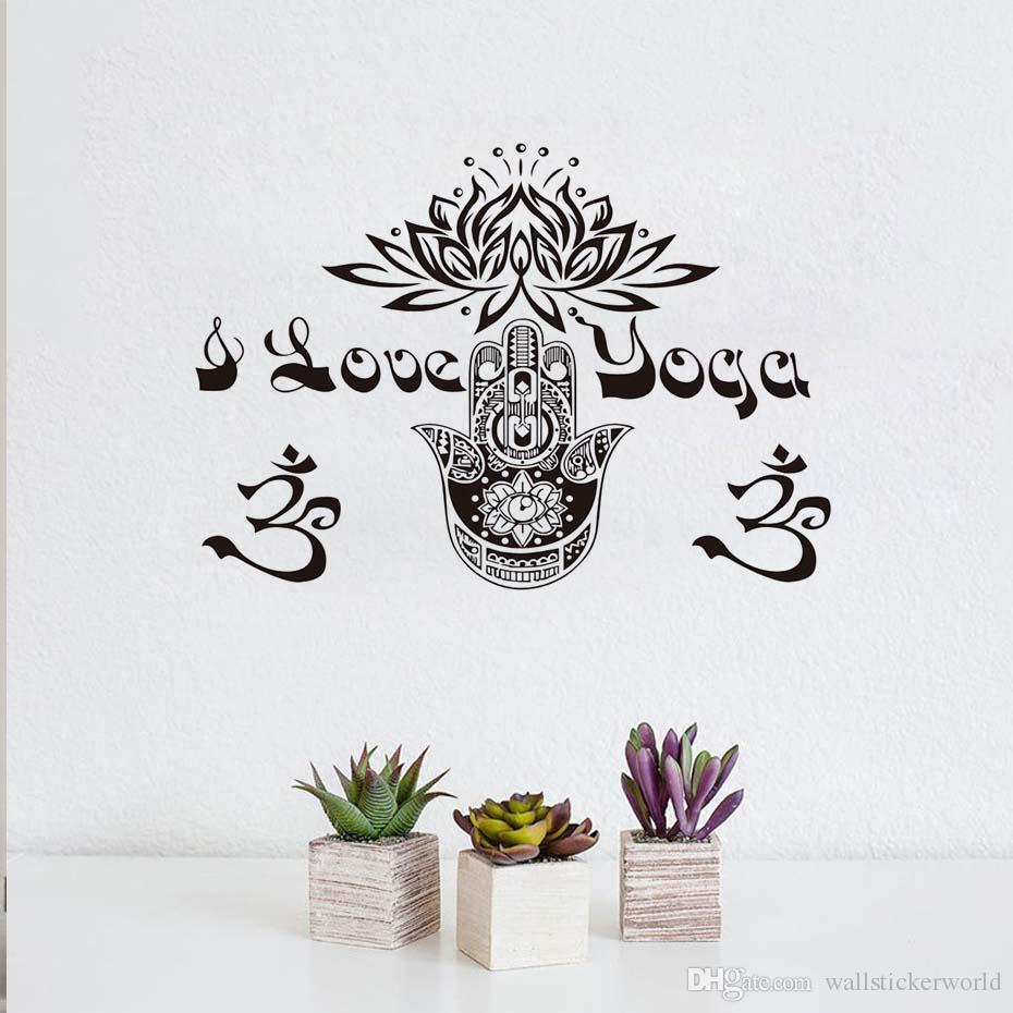1 Pcs Om Symbole Hamsa Main Lotus Autocollant Mural Art Décalque de Vinyle Amovible DIY Décor À La Maison Chambre Décoration Wall Sticker