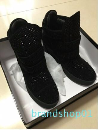 Hot Altura Venda-Crystal Aumentar calçados casuais para loop de mulheres gancho alta top de couro Zapatos Mujer alta qualidade strass Primavera Shoes