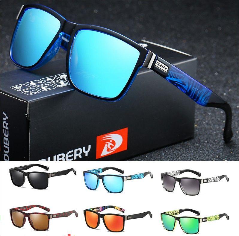 Dubery Entwurf polarisiert Sonnenbrille Männer Treiber Shades Männlich Jahrgang Sonnenbrillen für Männer Spuare Spiegel Sommer-Sonnenbrille 518