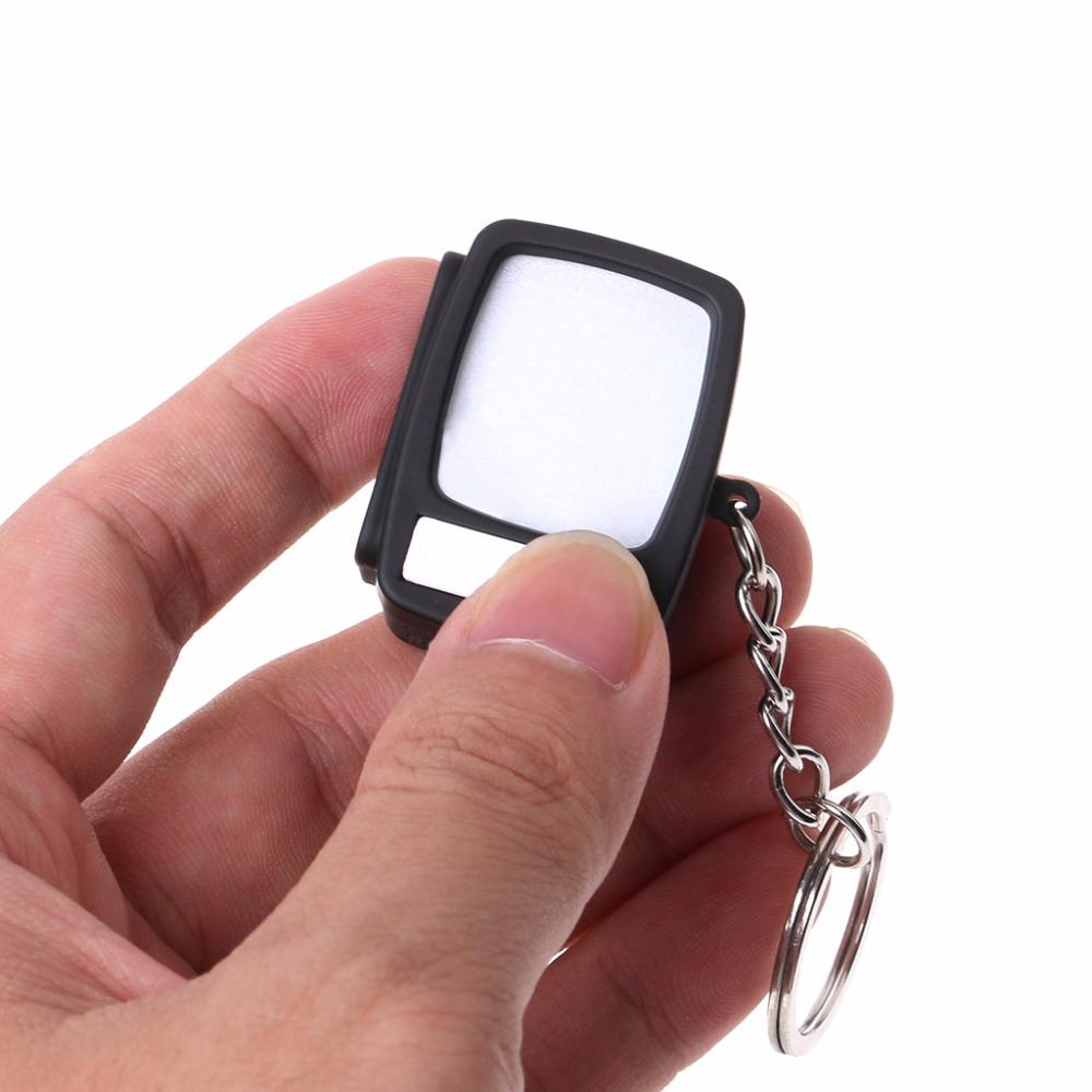 Creative Mini TV Sound Light Up Decor Gift Television LED Keychain Key Holder