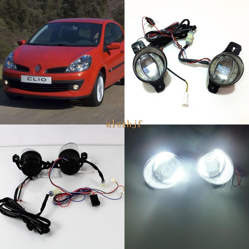 Juli König 1600LM 24W 6000K LED-Lichtleiter Q5 Objektiv-Nebel-Lampen + 1000LM 14W Tagfahrlicht DRL Fall für Renault Clio II III 2001-2009