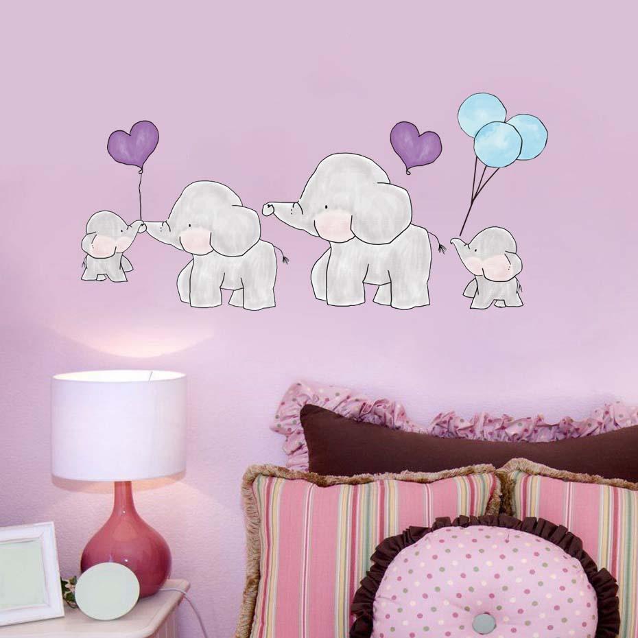 Acheter Mignon Dessin Anime Elephant Sticker Mural Pois Animal Stickers Muraux Pour Chambre D Enfant Chambre Decor Enfants Cadeau Fille De 7 91 Du