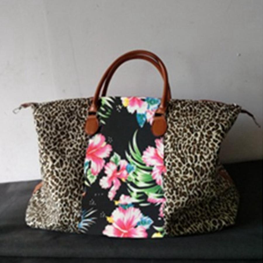 Compruebe bolso de leopardo de impresión de la tela escocesa bolsas de gran capacidad de asas del viaje de la PU con la manija Deportes Yoga totalizadores de almacenamiento de maternidad Bolsas RRA2601