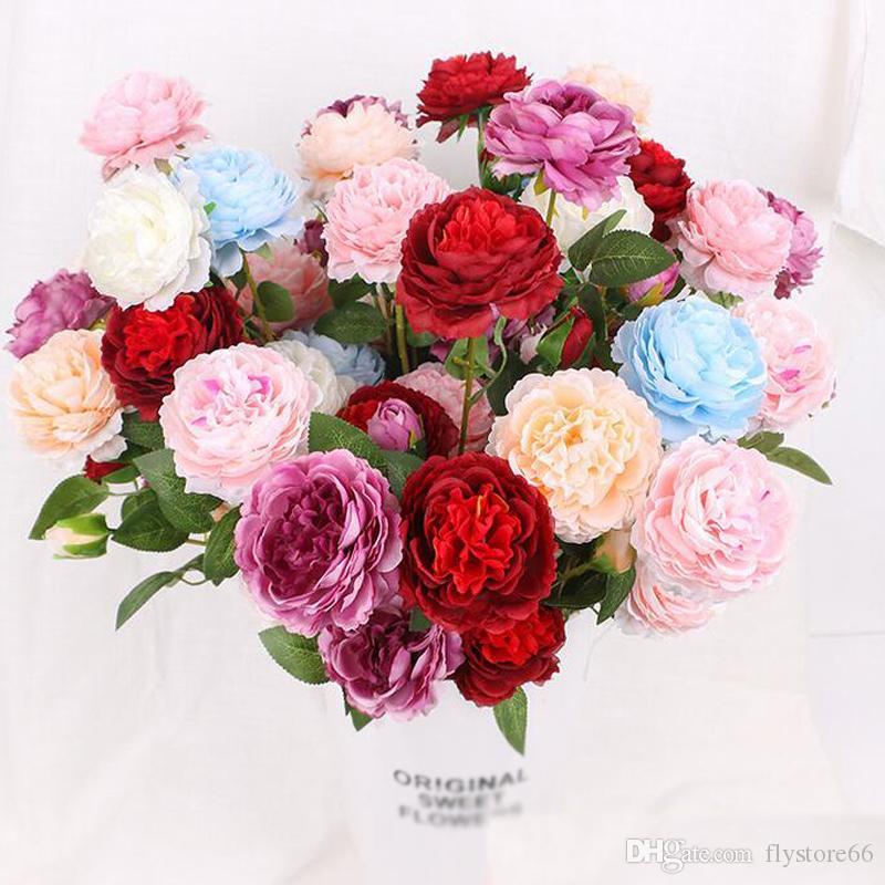 Peony di seta artificiale realistica all'ingrosso con 3 teste fiori di simulazione Bouquet da sposa Bouquet Home Office fiori decorativi