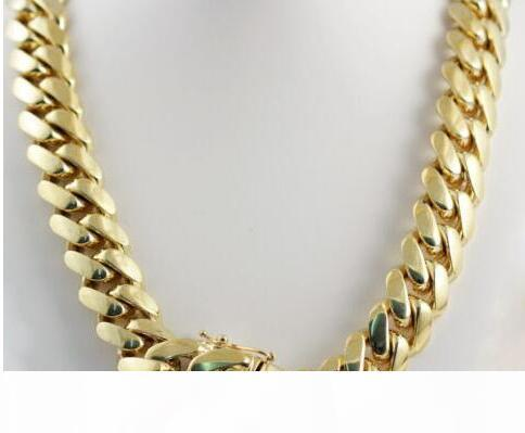 """14k Yellow Gold Plated Men&039;s Heavy Miami Cuban Chain Necklace 24"""" 14mm"""