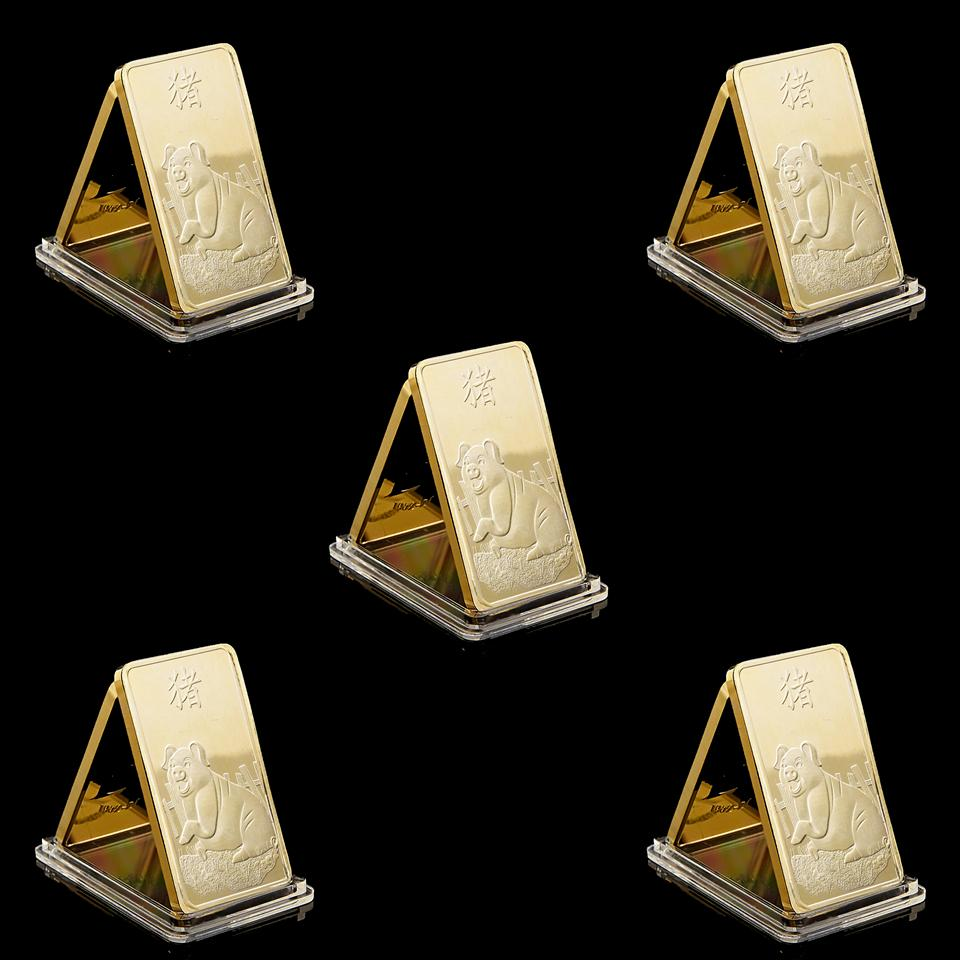 5PC Non magnetic Suisse Commemorative Gold Bar Year Pig Zodiac Pig 1oz Gold 999 Commemorative New Year Gift Gold Plated Art Collection