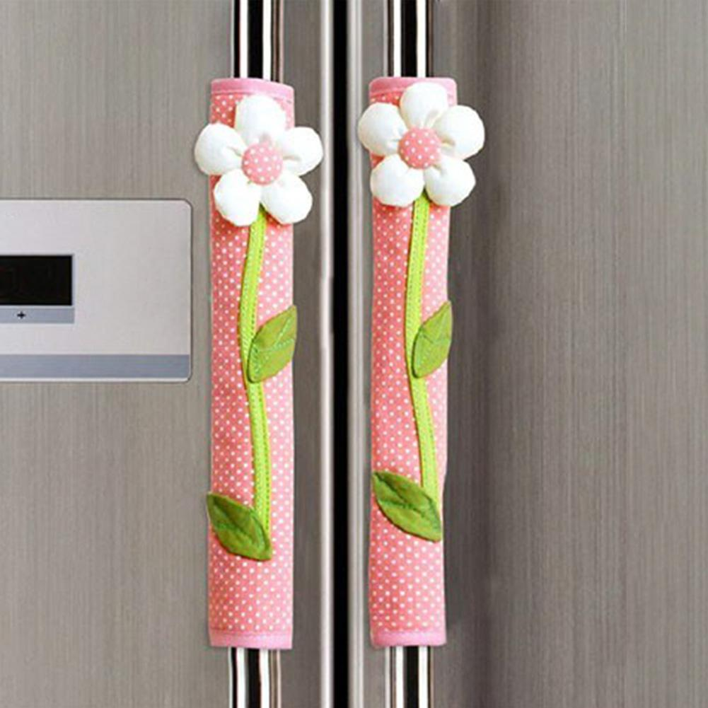 1 Pair Flower Home Decor Fridge Handle Gloves Accessories Polka Dot Door Refrigerator Keep Clean Reusable Protection Washable