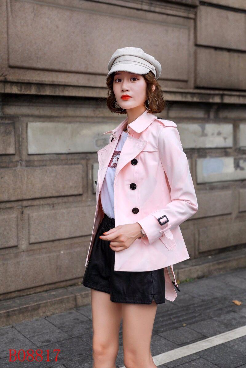 منقوشة السيدات قصيرة خندق معطف الظلام معطفا البريطاني مزدوجة الصدر حزام معاطف سليم السيدات العلامة التجارية سترة واقية الكلاسيكية الملابس QQ3