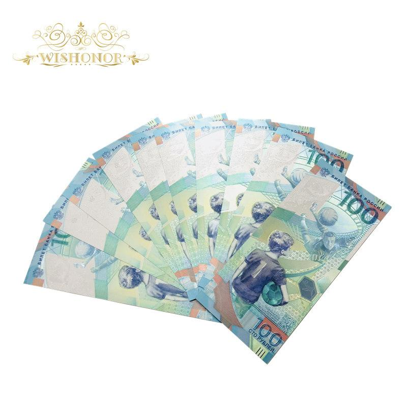 10pcs/lot Hot Sales Color Russia World Cup Banknotes 100 Rubles Banknote in 24k Silver Paper Money For Collection And Gifts