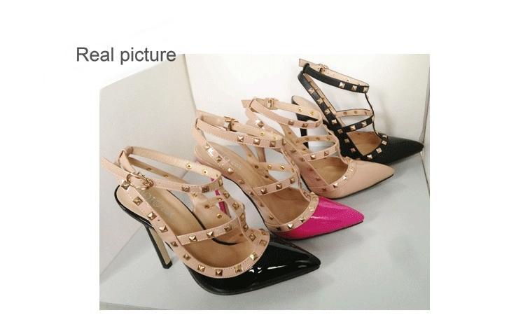 Hot Sale-stud vestido sapatos das senhoras fivela saltos altos recortes dedo apontado pregos Triplo cinta bombas patente Euro simples PU senhora sandálias zy2333