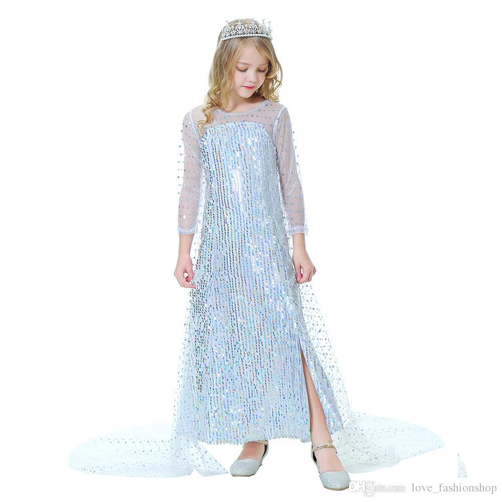Retail kids luxury designer clothes girls dresses Snow queen sequined princess dress with cloak long party dress children clothing