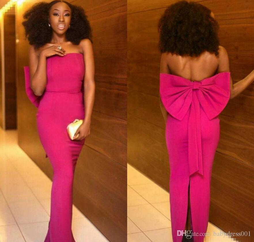 2018 new Fuchsia Mermaid Evening Dresses Strapless Back Slit with Big Bow Floor Length sexy sheath Chiffon Cocktail Party Prom Ball Gown