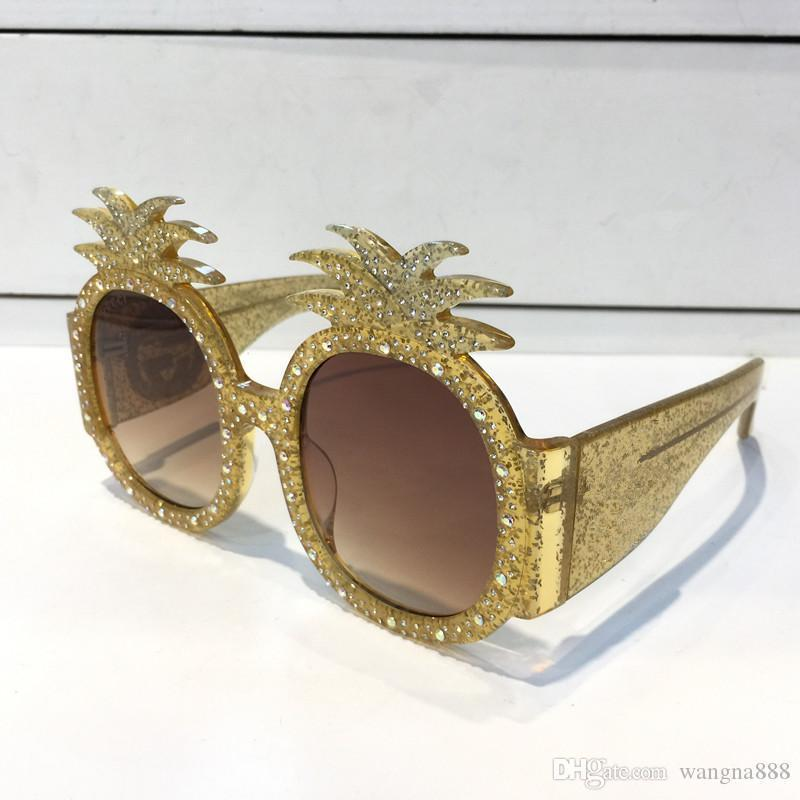 0150S Designer Sunglasses Gold Acetate Frame With Pineapple Frame Popular UV Protection 0150 Sunglasses Top Quality Fashion Summer Style