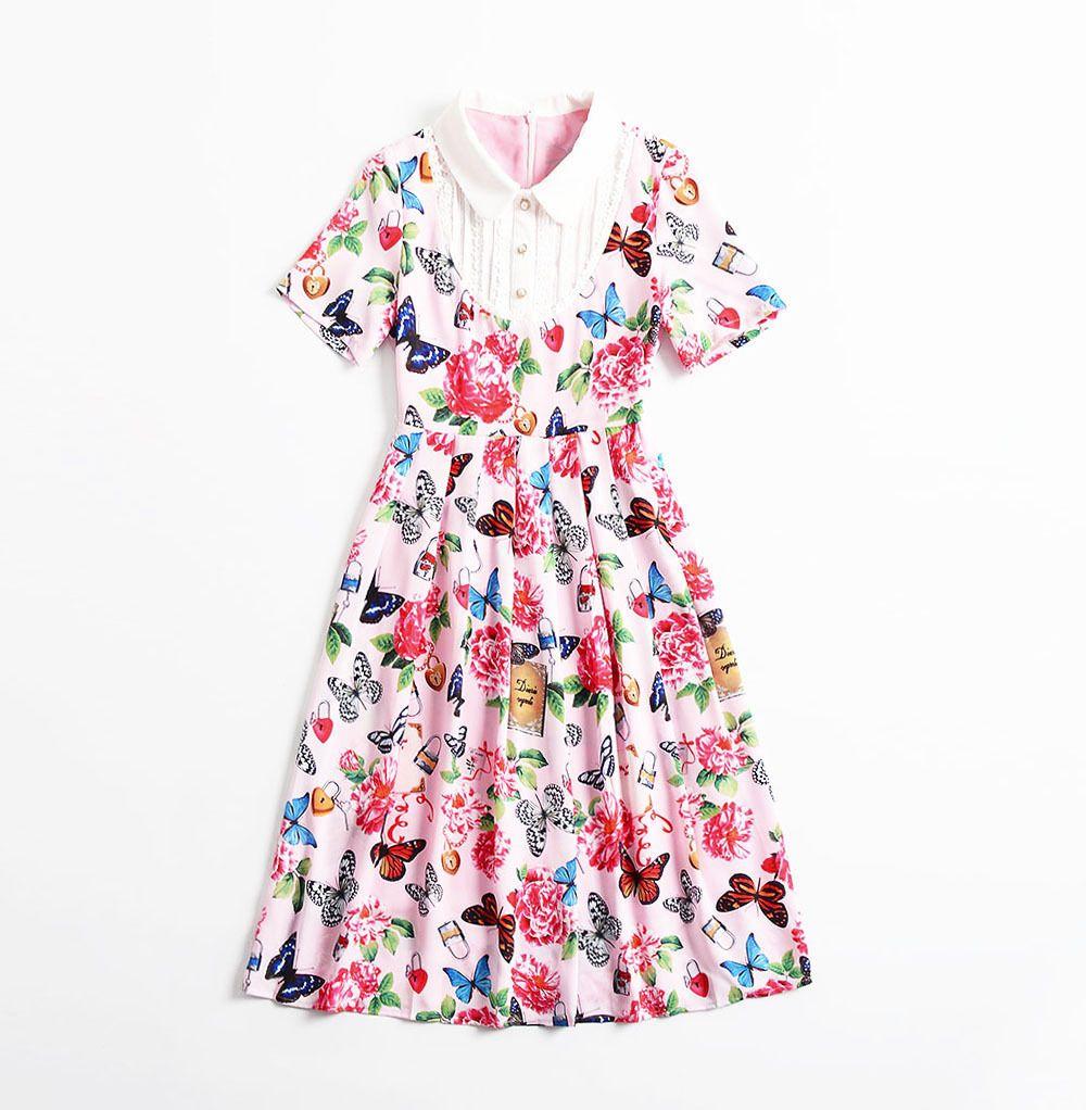 2019 Spring Summer Short Sleeve Peter Pan Collar Butterfly Floral Print Patchwork Mid-Calf Length Dress Luxury Runway Dresses M12H8618282