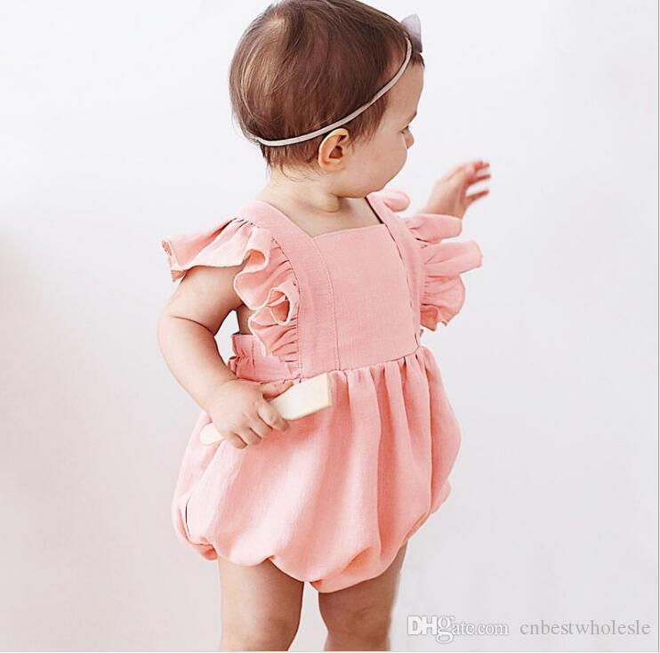 f14bb98dfe635 Ins Newborn Baby Cotton Ruffles Rompers Bebe Summer Flutter sleeve  Jumpsuits Baby Girl Candy Color Romper baby clothes