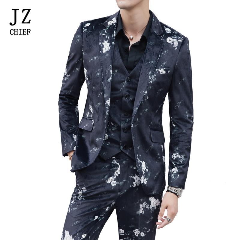 JZ CHEF Hommes Imprimé Costume Floral Set 3 Pièce Costumes De Mariage De Fleur Velours Blazrt Veste Slim Fit Prom Patry Groom Costume Gilet Pantalon