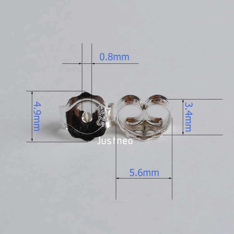 earnut5.6mm solide 925 papillon frottement dos boucle d'oreille en argent sterling bouchon d'arrêt de retour 1pair