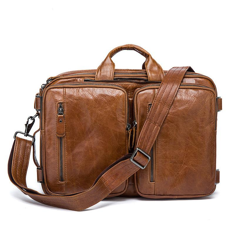 Cowhide Leather Briefcase Mens Genuine Leather Handbags Crossbody Bags Men's High Quality Business Messenger Bags Laptop