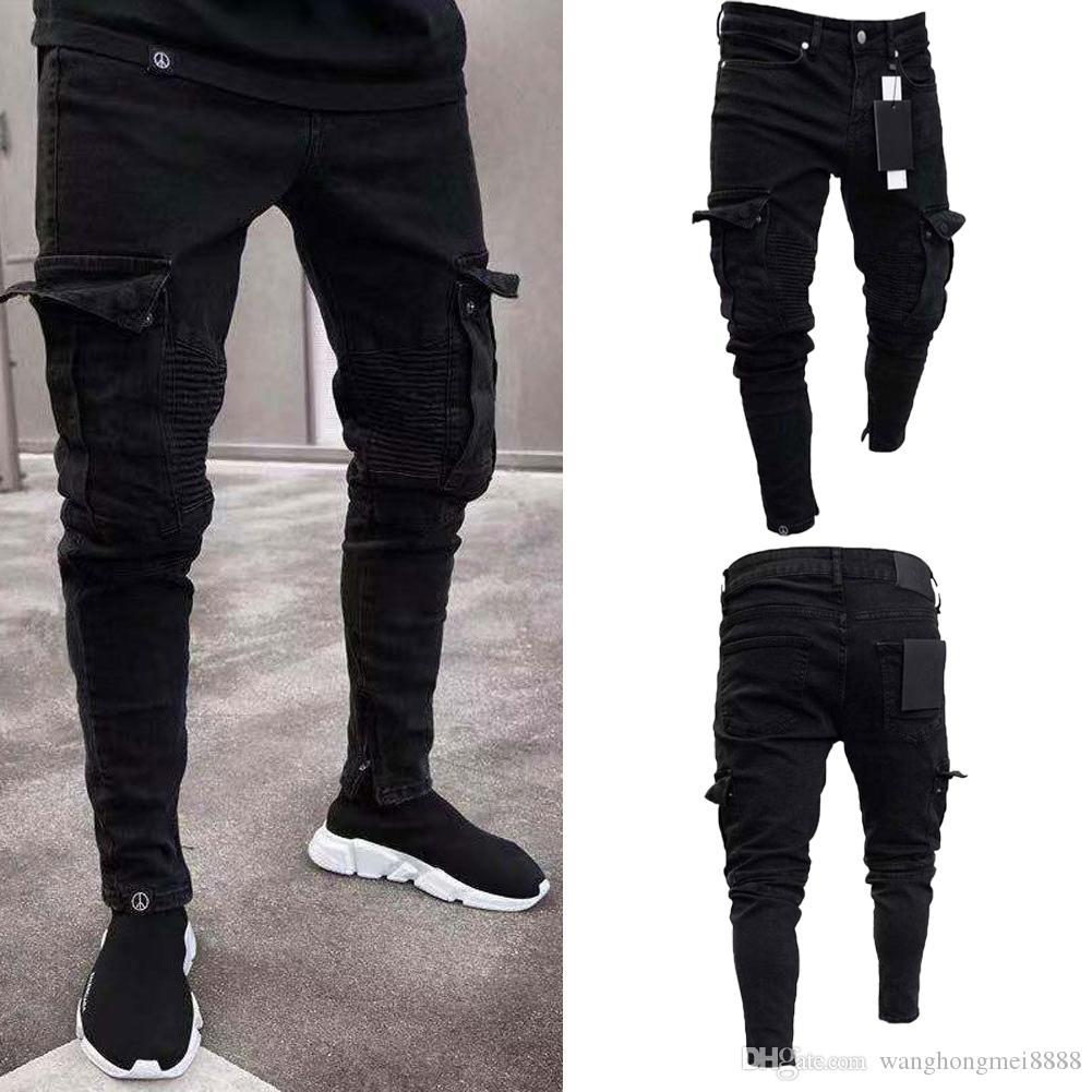 أزياء سوداء جان الرجال الجينز نحيل السائق جينز دمرت المتوترة يتأهل جيب البضائع سروال رصاص زائد الحجم s-3xl