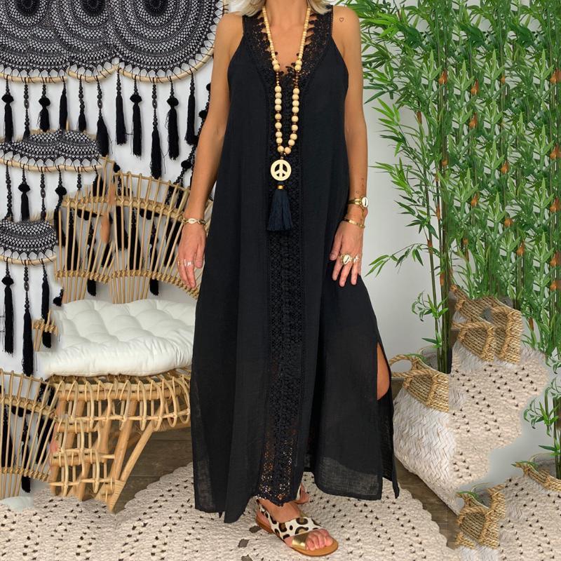 # H30 Femmes Robe Taille Plus Encolure manches longues robe de soirée en dentelle Patchwork solide Couleur Robes longues pour les femmes Vestido