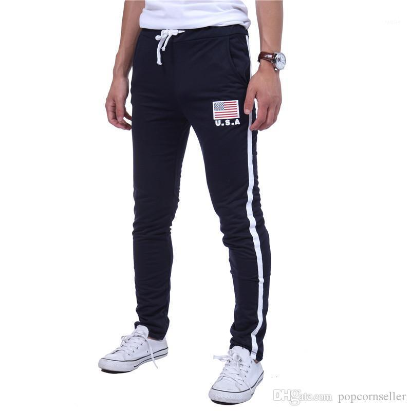 Шнурок брюки повседневные тренировочные брюки с американским флагом печати брюки Мужские дизайнер уличный стиль хип-поп брюки мужская мода стирать