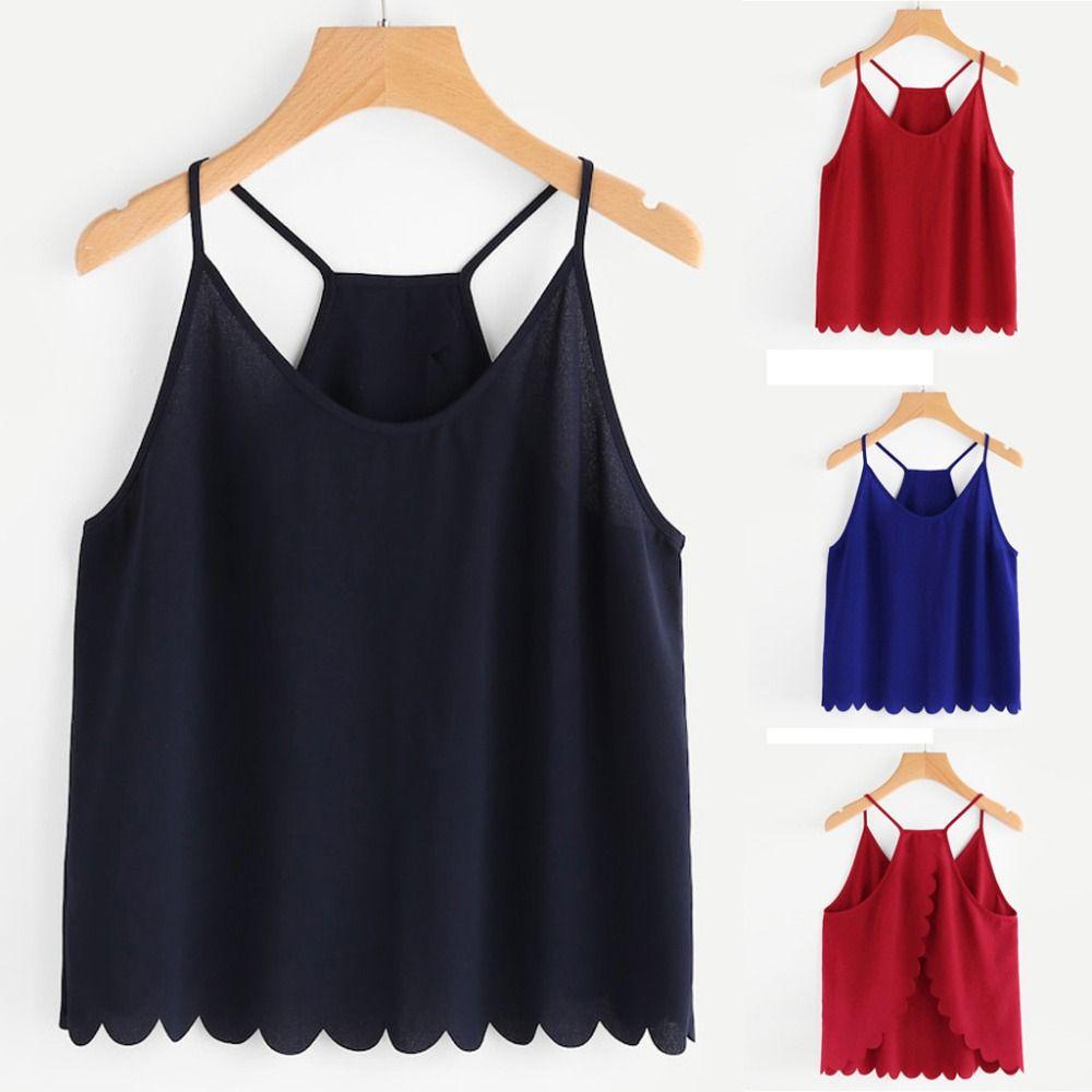 New Fashion Women Casual Camis Sleeveless Chiffon V-Neck Overlap Back Scallop Hem Crop Tops sexy top ropa verano mujer 2019