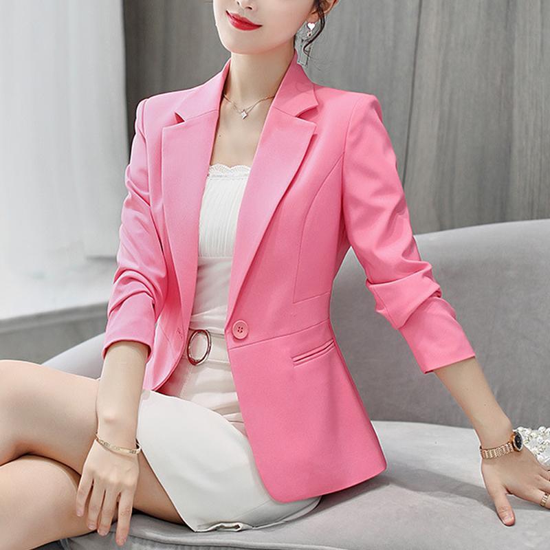 2020 femmes Blazer rose à manches longues Blazers Bouton Un solide manteau Slim bureau Lady Veste Femme Tops Costume Blazer Veste Femme