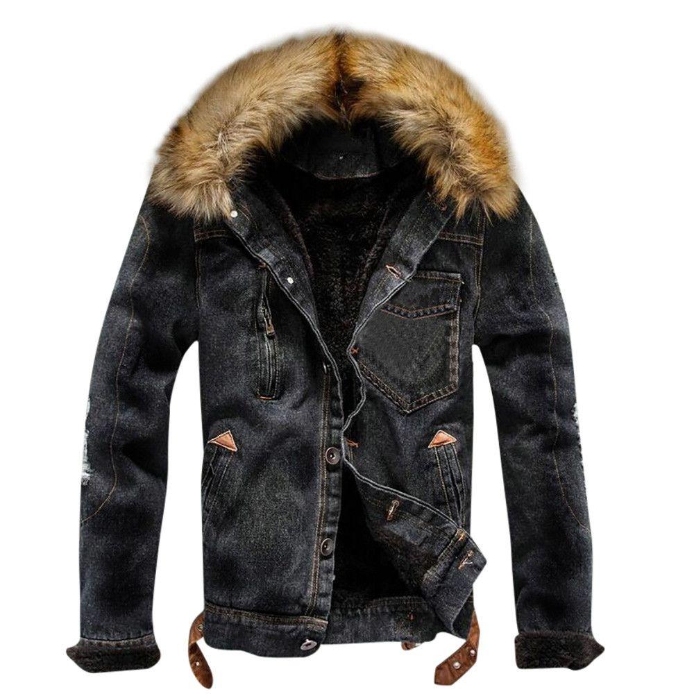 f7215d1d Мужская куртка и пальто Модная зимняя теплая флисовая джинсовая куртка 2019  Зимняя мода Мужская джинсовая куртка