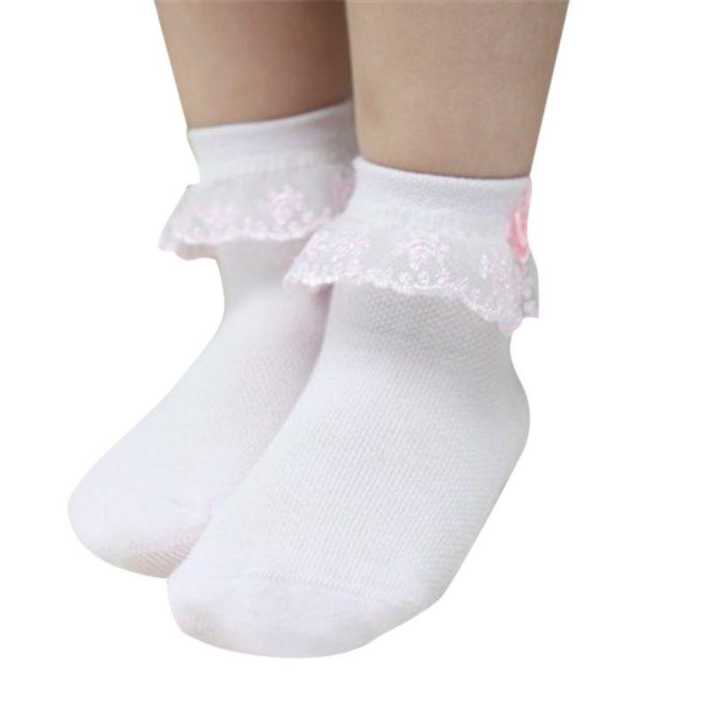 Sweet Newborn Baby Boy Girl Solid Lace Ruffle Frilly Socks Anti-slip Lovely UK