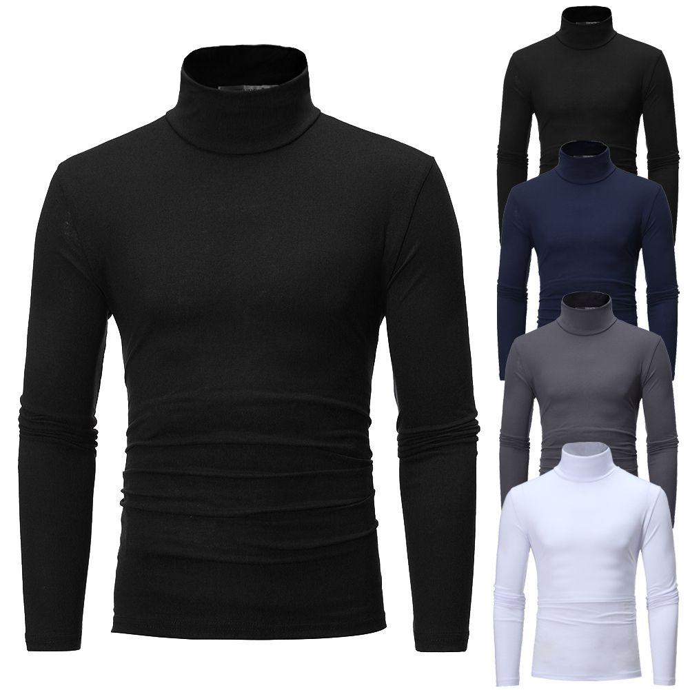 Inverno Alta Neck T Shirt Dos Homens de Algodão Térmico Longo Slim Fit Camisa Tartaruga Pescoço Skivvy Gola Alta Trecho Outono Camisa Top