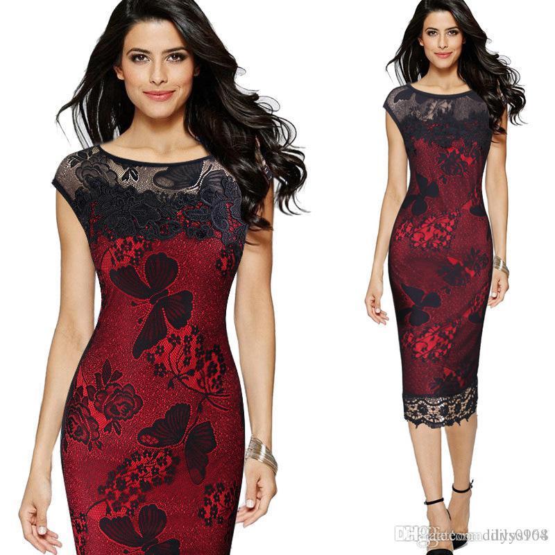 Parti Robes de bal robe invité de mariage de taille plus formelle rouge zipper tenue vestimentaire Code Big dentelle mode jupe robe sexy broderie Robe crayon