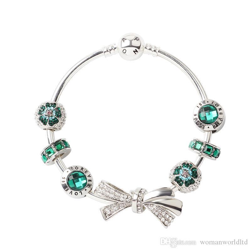 Heißen Verkauf-neue 925 silberne Frauen-Diamant-Bogen-Armband-Kette P-Armband-Stulpe Art und Weise Schmucksache-Geschenk große Loch-Korn-Armband Valentinstag Geschenk