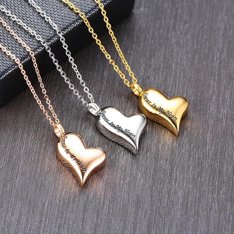 الفولاذ المقاوم للصدأ الحرق جرة قلادة دائما في قلبي الرماد القلائد وارتفع الذهب لون الذهب قلادة للنساء