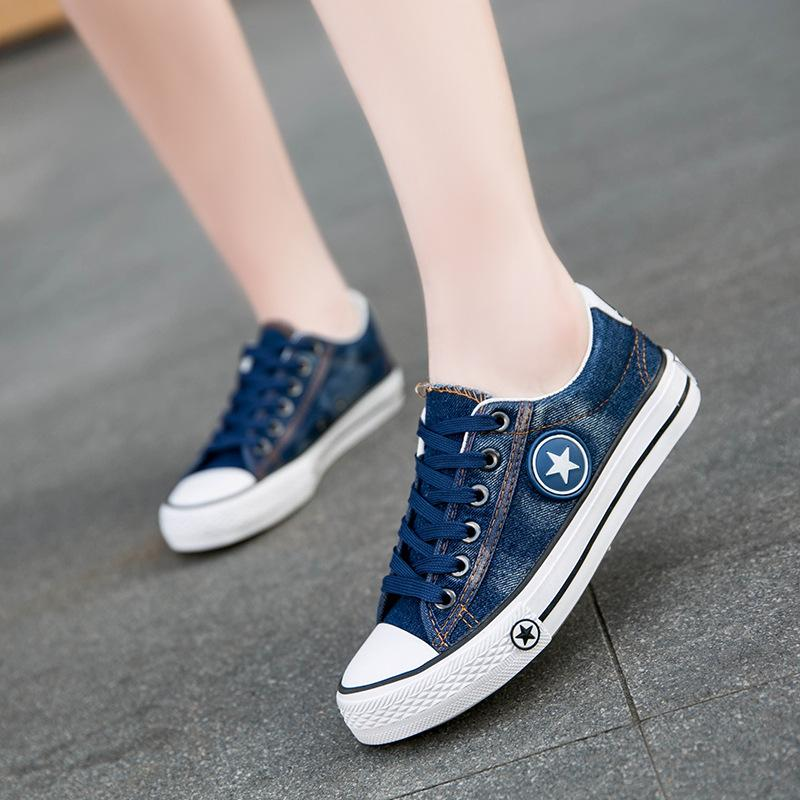 Donne calde di modo scarpe da tennis denim pattini casuali estate femminile scarpe di tela formatori Lace Up signore carrello Femme Stelle Tenis Feminino