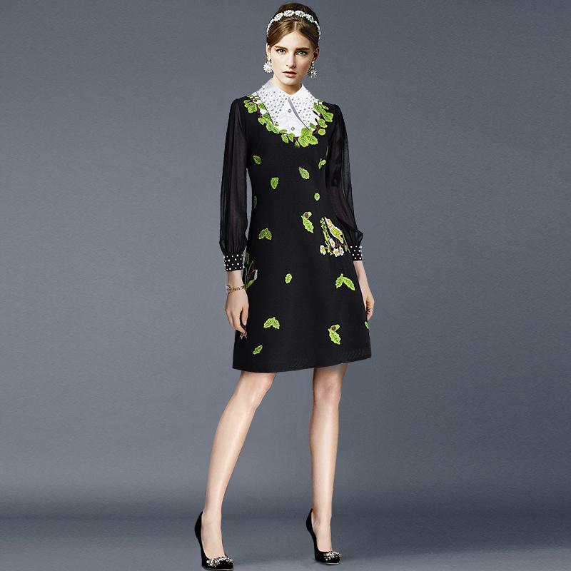 2019 осень черный Colorblock кружева лоскутное длиной до колен 4/5 рукав отворотом шеи мода взлетно-посадочной полосы платья Vestidos 9N12YDY10D