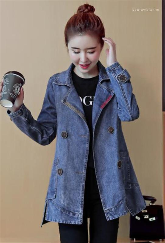 Sleeve Lapel Neck Ladies Outerwear Casual Single Breasted Loose Womens Coats Denim Womens Trench Coats Autumn Long