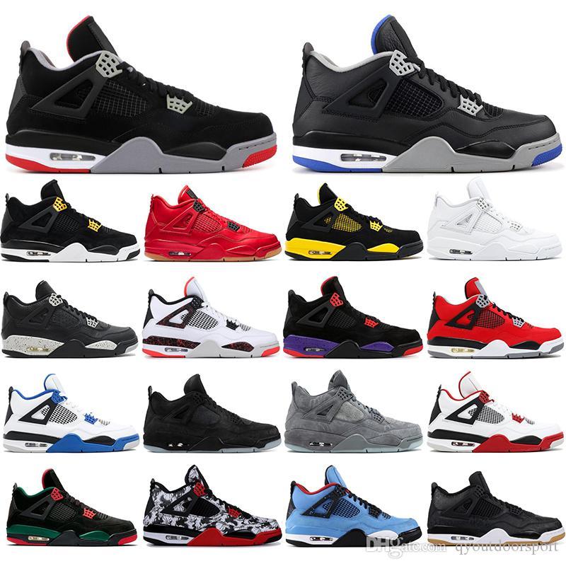 4  avec des chaussettes libres 2020 4s chaussures hommes de basket-ball 4 tatouage BRED pizzeria noir Singles Day REDEVANCES OREO Designer Baskets Baskets 40-47