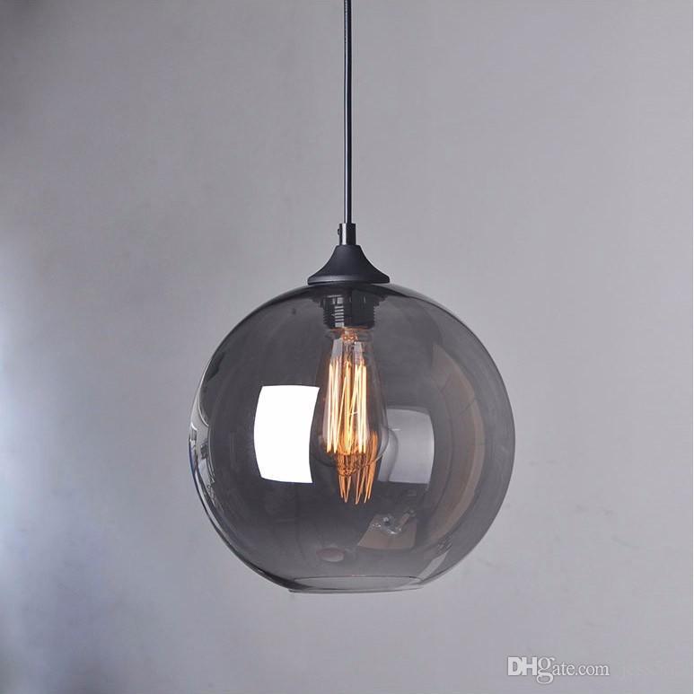 2020 Süspansiyon modu Asma lamba camı top asılı ışıklar abajur Saydam gri siyahımsı cam abajurlar