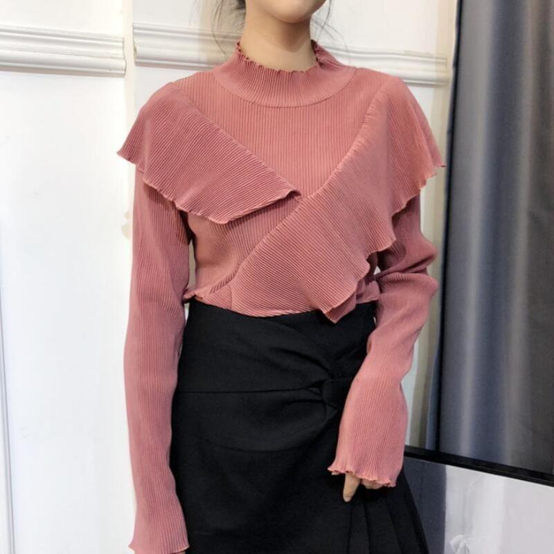 Женская одежда Корейский стиль весна осень футболки основной сладкий водолазка с длинным рукавом оборками моды бренд вершины розовый черный