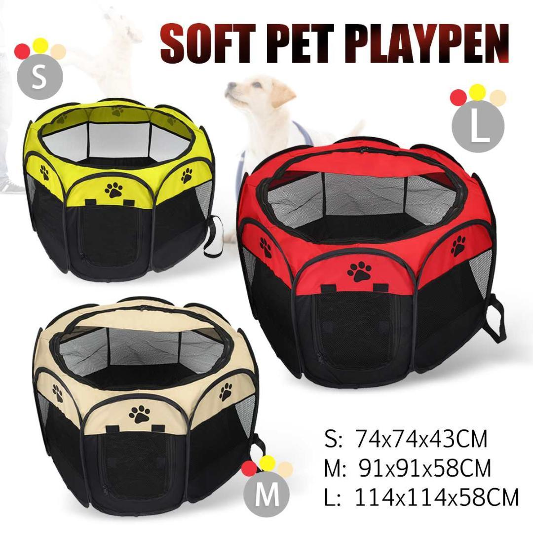 74x74x43cm / 91x91x58cm Portable Folding Pet House Cage Dog Cat Tent Playpen Puppy Kennel Easy Operation Octagonal Fence